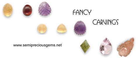 fancy carving on gemstones in different shapes and styles